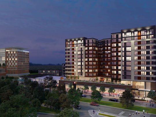 A rendering of the proposed 12-story apartment building