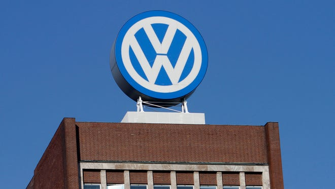 The Volkswagen logo at the company's headquarters at the Volkswagen plant in Wolfsburg, Germany.