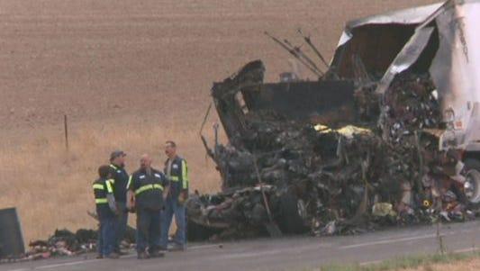 Semi-truck crash near Johnstown Monday, Sept. 14, 2015.