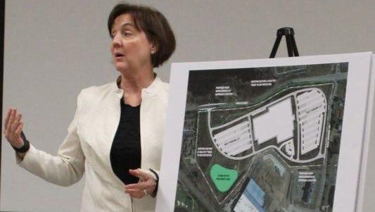 Sue Gott, a University of Michigan planner, presented a preliminary design of the Brighton Health Center South to the Brighton City Council in April.