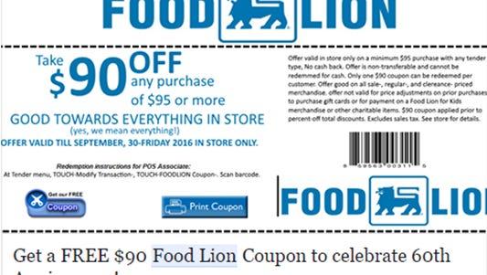The fake Food Lion coupon.