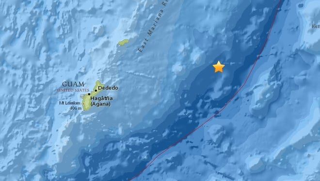 A 6.0-magnitude earthquake originating about 113 miles northeast of Guam was felt in Guam at about 9:14 a.m. on Feb. 12, 2018.