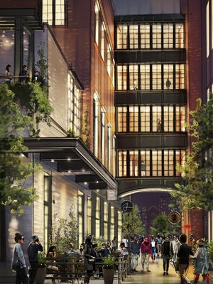This artist's rendering shows the planned 130-room Shinola Hotel that will see the overhaul of two Woodward Avenue buildings.