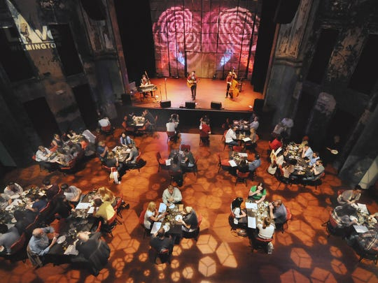 About 80 people dine at a food and beverage event at World Cafe Live at the Queen in 2012.