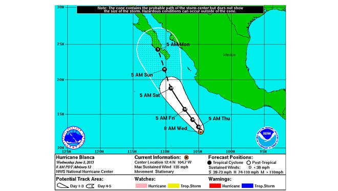 The forecast track of Hurricane Blanca shows it heading for Mexico's Baja Peninsula.