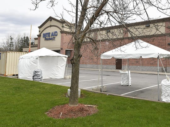 Tents have gone up outside the Rite Aid on Commercial Drive in New Hartford. Rite Aid has not given an explanation for the tents, but the chain has announced that it will set up more drive-thru COVID-19 testing sites in New York.