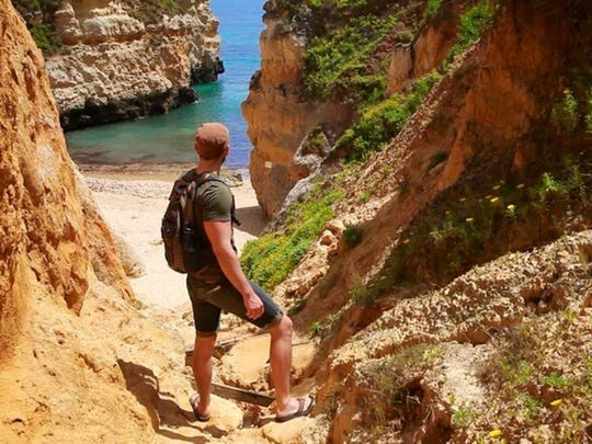 This picture was taken in Lagos, Portugal, Jake Harrison and a friend were on beach/cliff walk of the town's coast. They got off the trail and the accessible beaches and climbed down to a hidden alcove.
