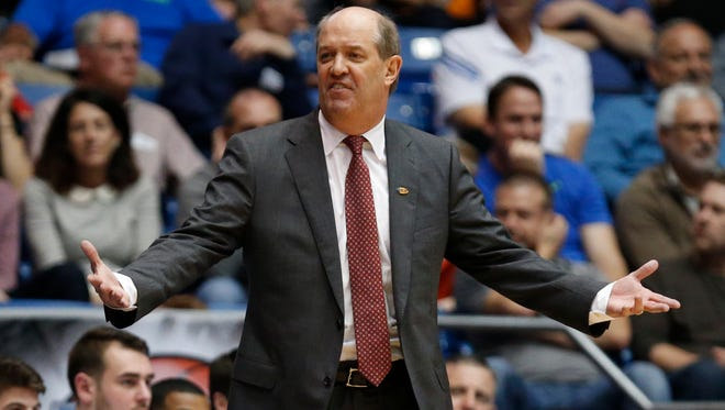 Vanderbilt coach Kevin Stallings reacts against Wichita State during the NCAA Tournament First Four at Dayton Arena on March 15, 2016.