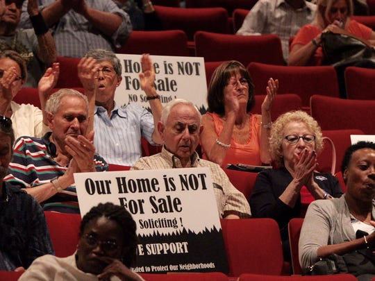 A public meeting on blockbusting was held at Rockland Community College, Sept. 21, 2016.