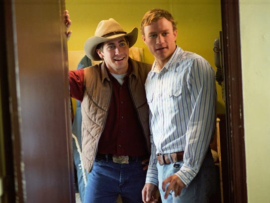 Jake Gyllenhaal (left) and Heath Ledger are cowboys