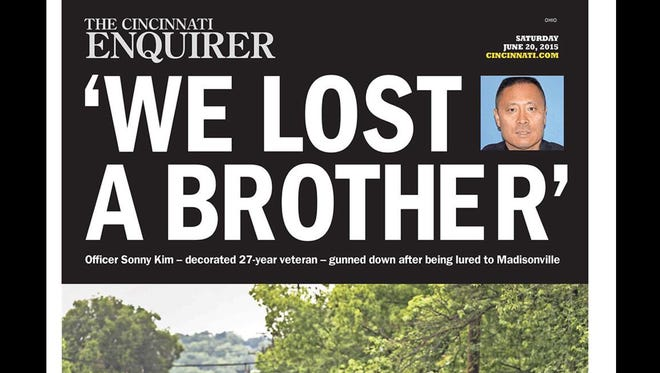 The front page of The Cincinnati Enquirer was dedicated Saturday to the death of Cincinnati police Officer Sonny Kim.