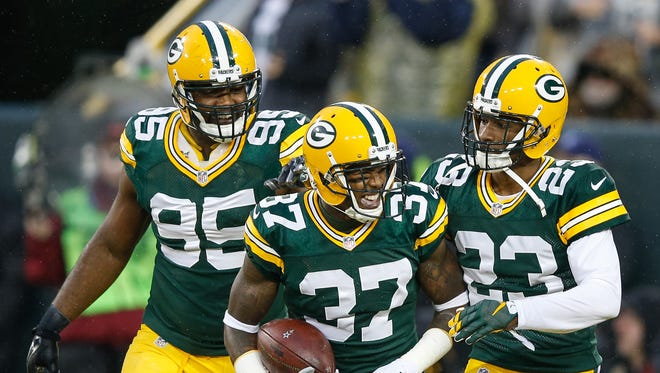 Sam Shields (middle) and the rest of the Packers secondary will be tested by the Jaguars' receivers.