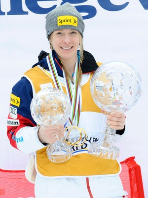 Hannah Kearney of the USA wins the overall globe for the FIS Freestyle Skiing Dual Moguls on March 15 in Megeve, France.