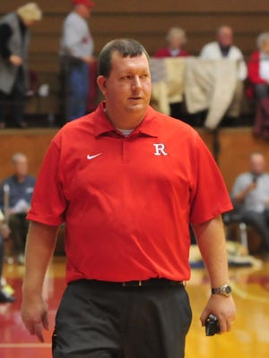 Assistant athletic director Jeremy Hill walks onto the court as Richmond hosted Lafayette Jeff in a boys basketball game Friday, Feb. 17, 2017 at Tiernan Center.