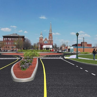 A rendering of the finished roundabout on North Main