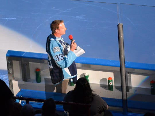 Team owner Harris Turer welcomes fans to the Admirals' first game of the 2016-17 season at the UW-Milwaukee Panther Arena, the first after its move from the BMO Harris Bradley Center.