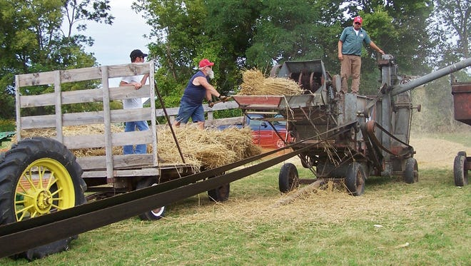 A McCormick Deering (International Harvester) thresher from the late 1920s was put into service for spectators at the 2017 R.S. Vintage Steel show in Calumetville.  With its 28-inch cylinder and 48-inch separator, it threshed winter wheat bundles loaded by Chris Stephany and Steve Crass while Eric Jurgensmeier monitored on top of the unit.