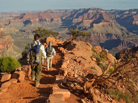 Sylvia Kadlubowski and Keanu Dirks descend along South Kaibab Trail at Grand Canyon National Park April, 24, 2013 in Arizona.