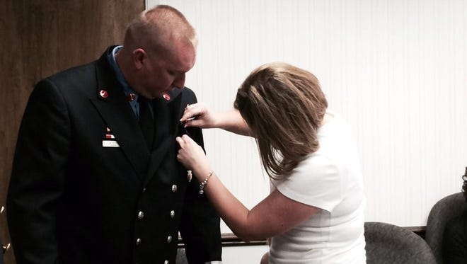 Jb Moody was one of three personnel at the Stevens Point Fire Department to receive a promotion Tuesday. Moody was promoted from lieutenant to captain.