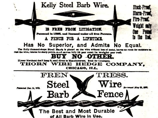Barbed wire fencing ad in an early farm magazine.