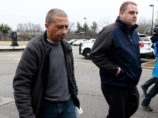 Imad Mowaswes leaving state police barracks in Totowa in March.