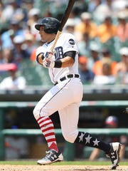Mikie Mahtook bats against the Indians during the second