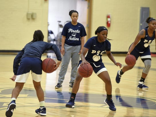 Pensacola State College women's basketball coach Penny Belford watches her team at a recent practice at Hartsell Arena. The Pirates (16-0) are unbeaten, ranked No. 10 and will host unbeaten No. 5 Northwest Florida State on Saturday.