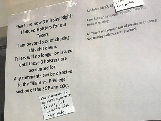 A sign that the police union says was posted at the