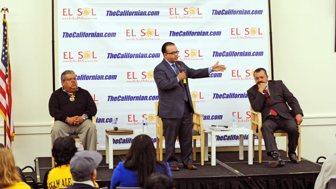 Assemblymember Luis Alejo answers a question from the panel at the Californian's District 1 Supervisor Forum on Wednesday.