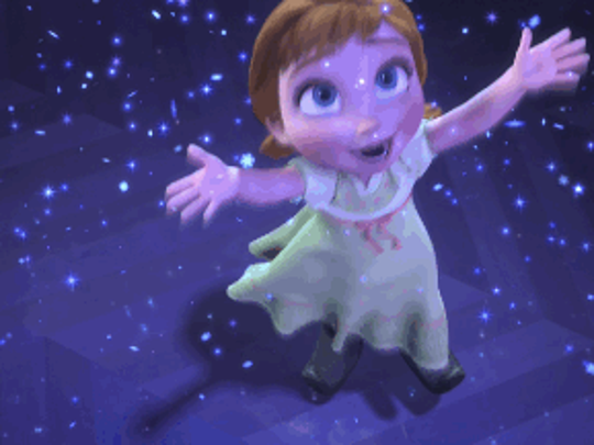 "Princess Anna from ""Frozen"" dances in the snow. Anna is the most popular Disney princess in Montana, according to Google searches."
