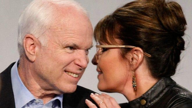 Sen. John McCain and Sarah Palin at campaign appearance in 2010.