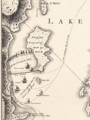 Historic map shows the Battle of Valcour Island in 1776 and Benedict Arnold's hastily assembled American fleet. The Americans delayed the British advance down Lake Champlain, changing the course of the American Revolution.