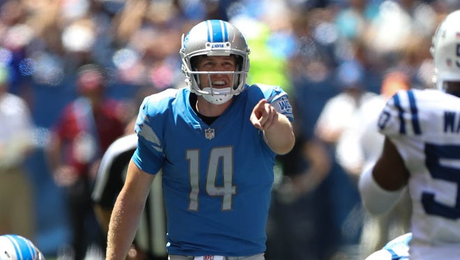 Jake Rudock calls a play against the Colts during the first quarter of the Lions' 24-10 exhibition win Aug. 13, 2017 in Indianapolis.