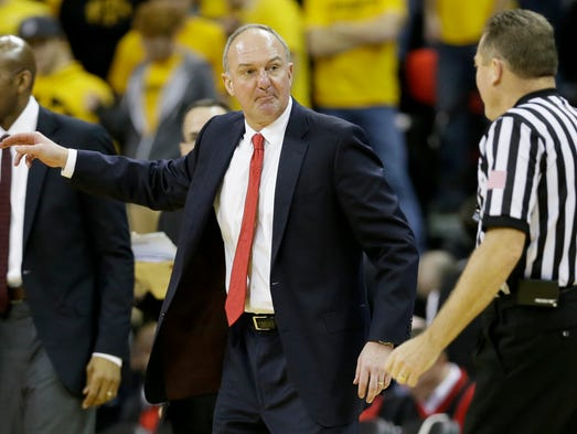 Ohio State head coach Thad Matta questions a call during