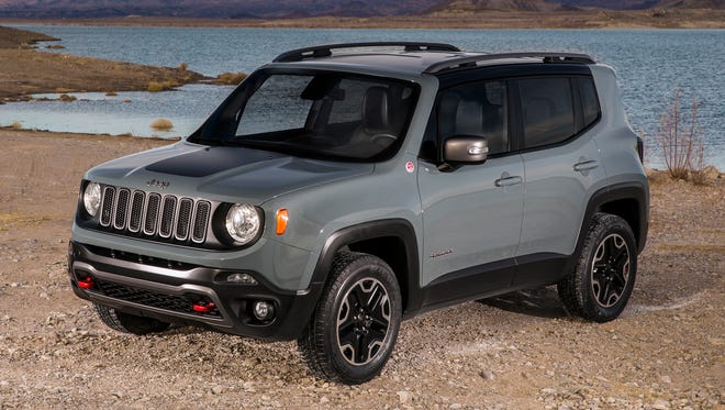 The newest Jeep, just on sale now, is this 2015 Jeep Renegade small SUV. A Fiat-branded sibling is due this summer.