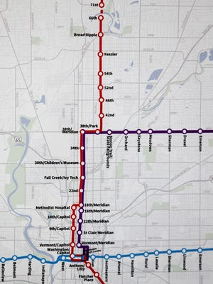 A map highlighting the planned Red Line and other bus rapid transit routes.