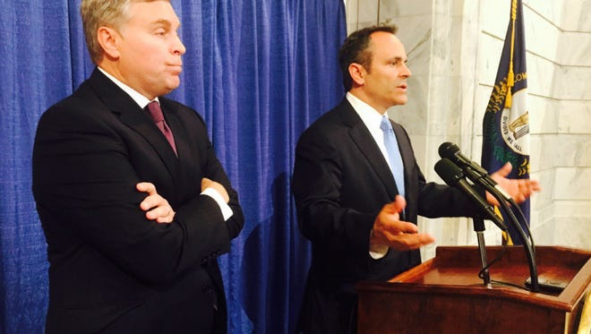 Gov. Matt Bevin (right) and Justice and Public Safety Cabinet Secretary John Tilley announce a the creation of the Criminal Justice Policy Assessment Council.