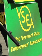 A sign for the Vermont State Employees' Association