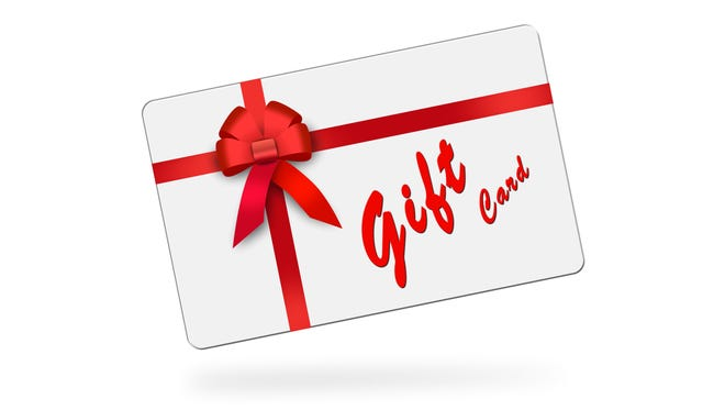 gift card, red ribbon, red loop, bow
