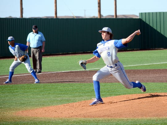 Carlsbad's Nate Arrington fires a pitch in the bottom