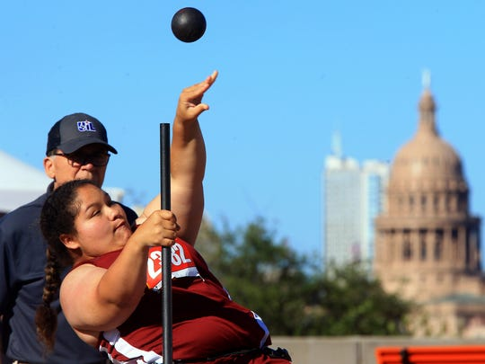 Tuloso-Midway's Catalina Clubb competes in the girls seated shot put during the UIL State Track & Field Championships on Friday, May, 12, 2017, at Mike A. Myers Stadium in Austin.