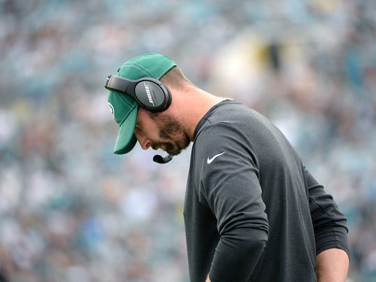 New York Jets head coach Adam Gase reacts on the sideline after a play during the first half of an NFL football game against the Jacksonville Jaguars Sunday, Oct. 27, 2019, in Jacksonville, Fla. (AP Photo/Phelan M. Ebenhack)