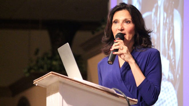 Food historian Francine Segan spoke at the Livonia Town Hall gathering Wednesday morning at St. Mary's Cultural Center.