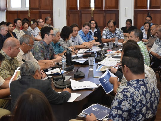 Guam Visitors Bureau officials meet with the Guam Legislature's Committee on Tourism for an roundtable discussion on the status of Japan's visitor arrivals,  at the Guam Congress Building on Oct. 20, 2017.