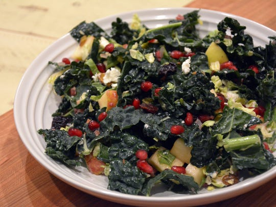 Kale, pancetta, brussels sprouts, pomegranate seeds,