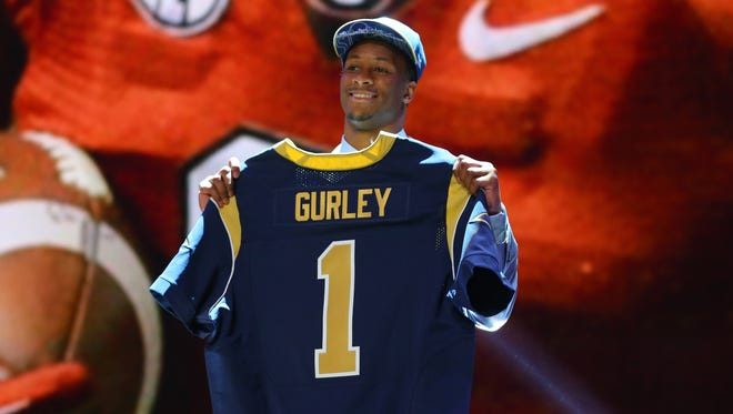 Todd Gurley (Georgia) poses for a photo after being selected as the number 10th overall pick to the St. Louis Rams in the first round of the 2015 NFL Draft at the Auditorium Theatre of Roosevelt University.