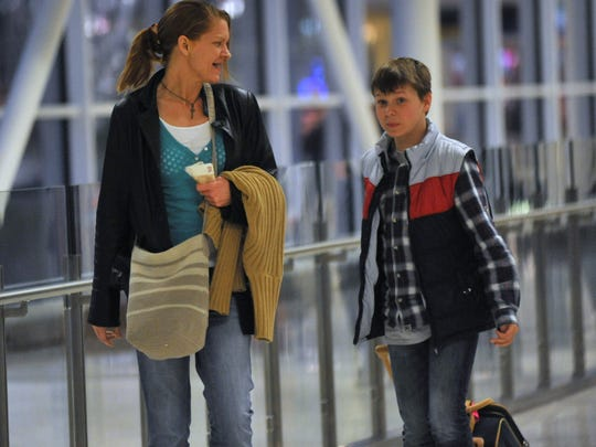 Alissa Zagaris and her son, Leo, arrived March 16,