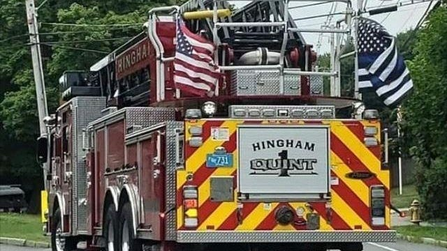 "Hingham firefighters said in July they wouldn't comply with an order from the police and fire chiefs in late July to take ""thin blue line"" flags off fire trucks."
