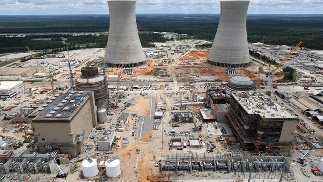 An aerial view shows the two new reactors under construction at Plant Vogtle. Unit 3 is on the left and unit 4 is on the right.