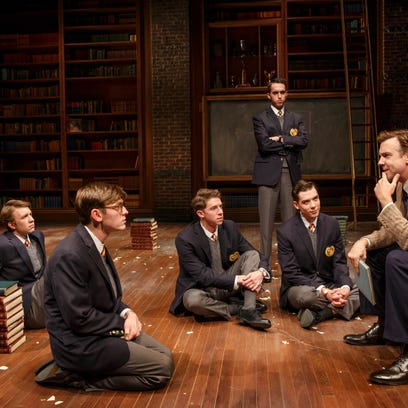 "Jason Sudeikis with cast of ""Dead Poets Society."""